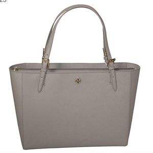 Tory Burch Emerson Large Leather Tote Grey $225